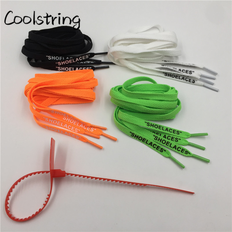 Coolstring Flat Single Layer With Printing SHOELACES Zip Tie For Replacement Off White T ...