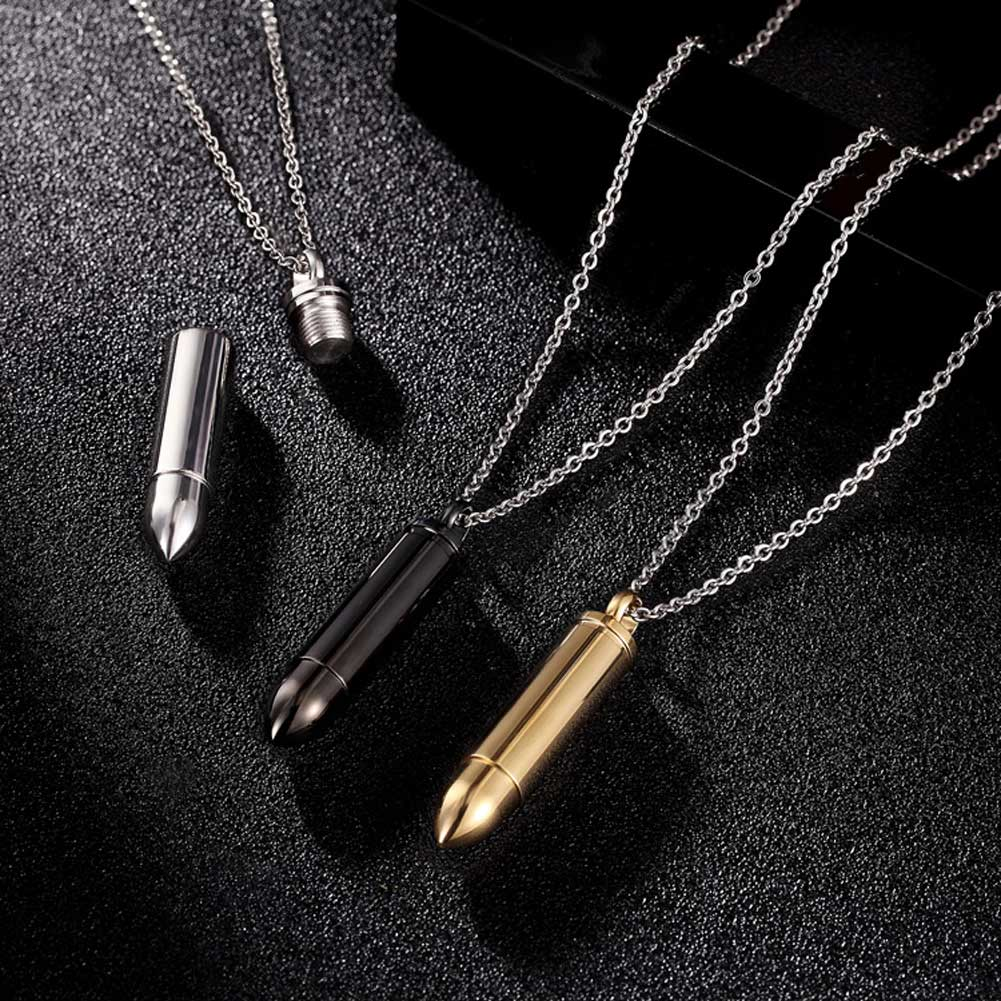 Men Bullet Shape Cylinder Pendant Necklace Stainless Steel Screw off Necklaces @M23