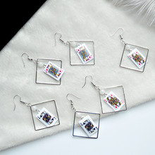 Korean Fashion Personalized Earrings Fresh Elements Creative Poker K Q Drop For Women Trendy Girl Female Jewelry