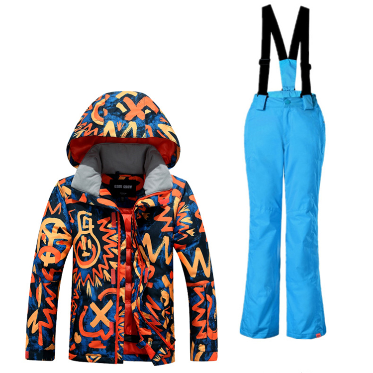 2018 Winter Boys Snowboard Ski Suit Waterproof Kids Snow Ski