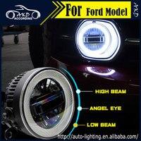 AKD Car Styling Angel Eye Fog Lamp for Fiat Freemont LED Fog Light LED DRL 90mm high beam low beam lighting accessories