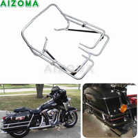 Motorcycle Rear Saddlebag Bracket Guard Bars Kit Chrome Twin Side Bag Holder For 97 08 Harley Road King Touring Electra Glide