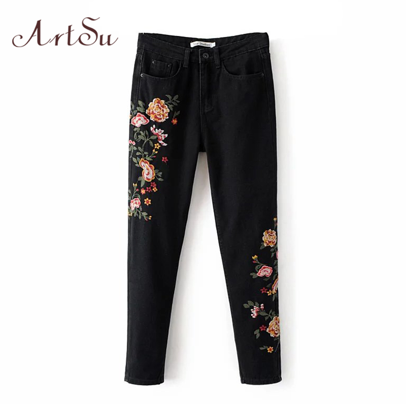 ArtSu Vintage Floral Embroidery Black Jeans Female Spring Straight Denim Pants Jeans European Casual Trousers Womens ASPA20009 flower embroidery jeans female blue casual pants capris 2017 spring summer pockets straight jeans women bottom a46