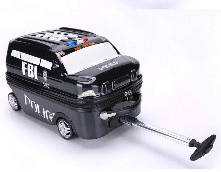 police car style trolley case 18 inches  children trolley cartoon student suitcase trailer for boy kid modelspolice car style trolley case 18 inches  children trolley cartoon student suitcase trailer for boy kid models