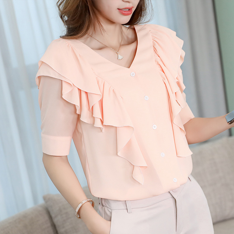 Summer Fashion Chiffon Women Blouses Ruffles Short Sleeve Pink Women Shirts Plus Size XXL Blusas Femininas Elegante Ladies Tops in Blouses amp Shirts from Women 39 s Clothing