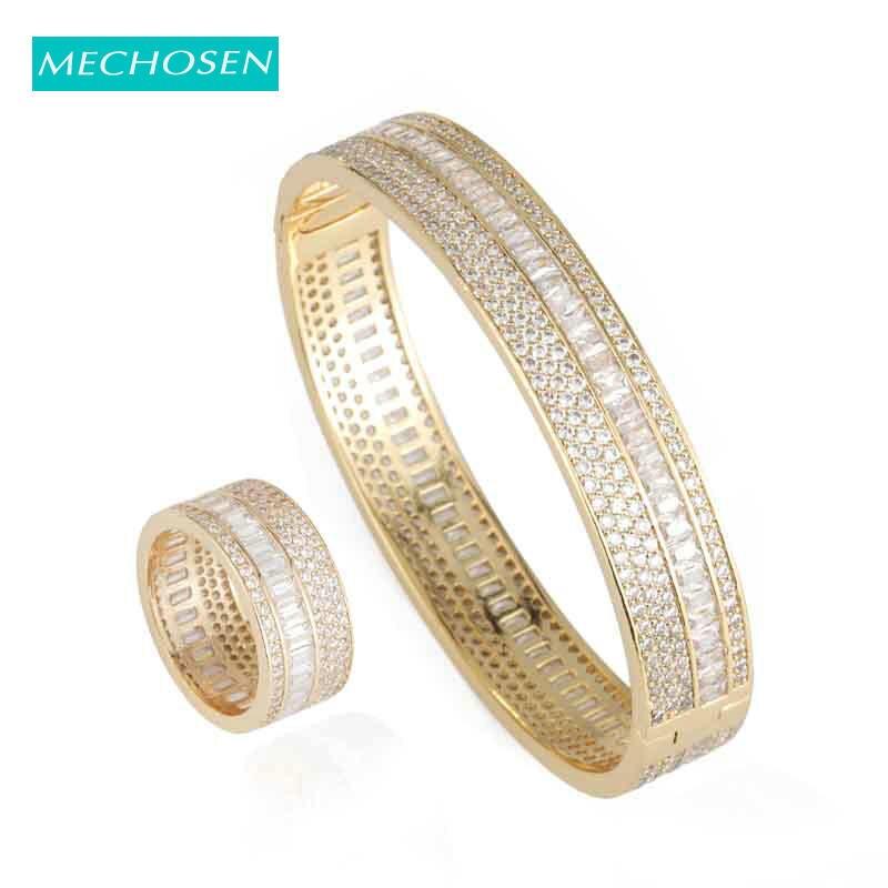 Meselected nouveau luxe Dubai or couleur bracelet bague bijoux ensemble pour dames de mariage mariée africaine cubique Zircon accessoires cadeau 2019