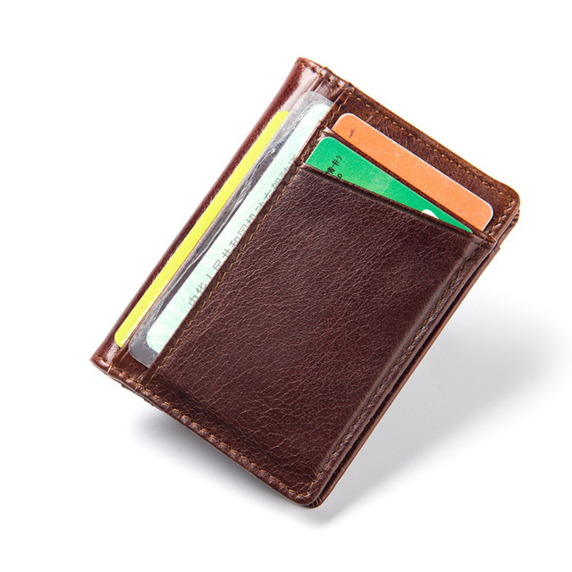 Hot Sell Men Genuine Leather Wallet Business Credit Card ID Holder Money Card Holder durable card wallet JM-01172