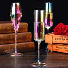 Creative Rainbow wine Glass cup Champagne glass lead-free Crystal Goblet Home drinkware Wedding Gift