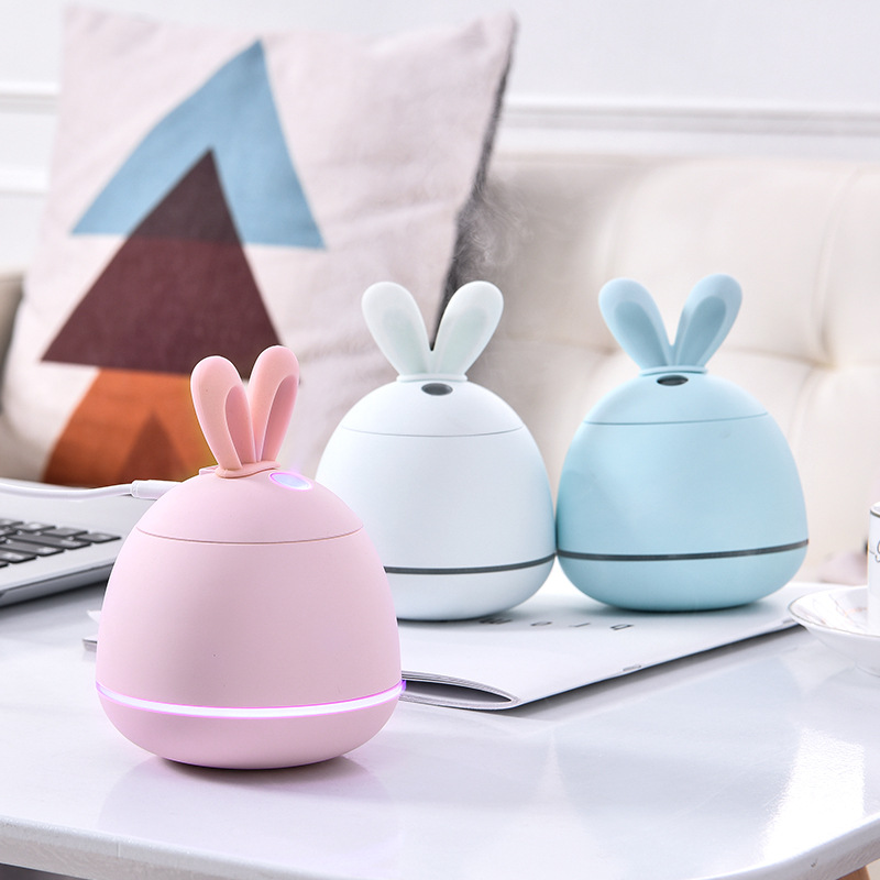 3 In 1 200ML USB Rabbit Air Humidifier Ultrasonic Cool-Mist Adorable Mini Aroma Humidifier With LED Light USB Fan For Office