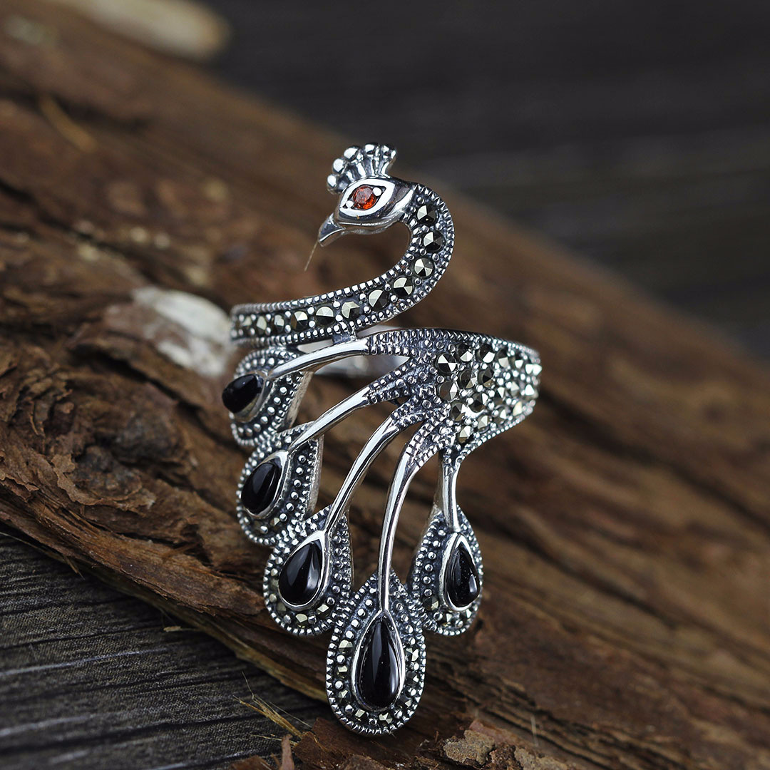 MetJakt Natural Agate Ring with Ruby Solid 925 Sterling Silver Zircon Ring for Women Vintage Thai Silver Fine Jewelry Open Ring