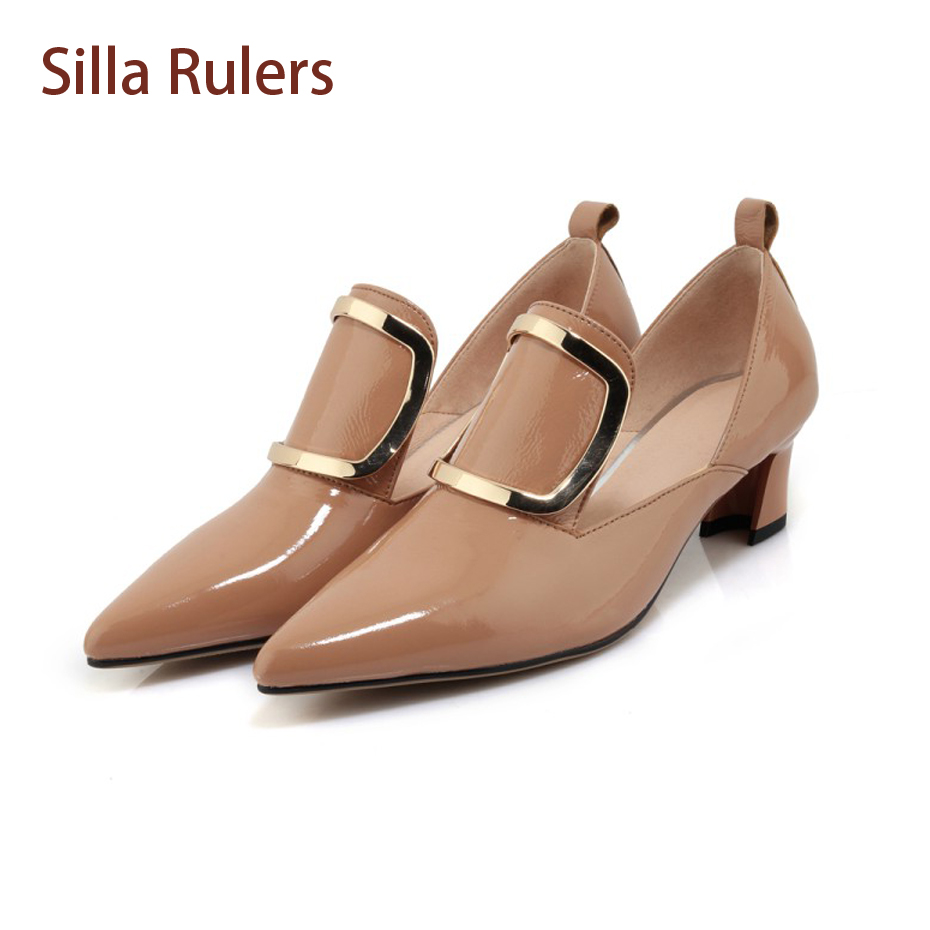 Silla Rulers 2018 Spring New All Match Women Shoe Patent Leather Slip On Lady Pumps Fashion Pointed Toe Med Heel Mary Janes Shoe loslandifen mary janes women pumps new