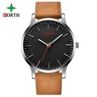 NORTH Minimalism Casual Watch Men Genuine Leather Black Stylish Women Men Lover S Wristwatch 30 Meter