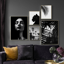 Black And White Leave Wall Art Nordic Poster Coconut Tree Pictures For Living Room Canvas Painting Girl Picture Prints Unframed удлинитель lux у3 0 05 5 м 3 розетки