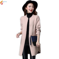 Europe 2017 Autumn Women Medium Length Cardigan Large Size Women Loose Sweater Spring Casual New Pocket