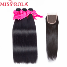 Fröken Rola Hair Brazilian Straight Hair 3 Bundlar With Closure Natural Color 100% Människohår Non Remy Hair Extensions 8-26 tum