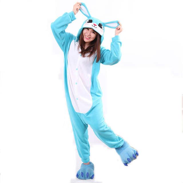 874de27987 Online Shop Cozy Blue Women Onesies Cartoon Character Pajamas Teenagers Kigurumi  Animal Rabbity Bunny Jumpsuit Cosplay For Home Parties