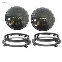 A Pair 7 Inch Round LED Headlight Daymaker 55W With Bracket Ring For For Jeep Wrangler