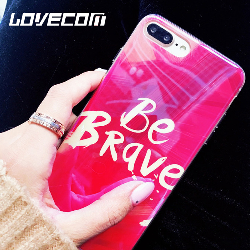 "LOVECOM <font><b>Blu-Ray</b></font> Phone Case For iPhone 6 6S 7 8 Plus X <font><b>Cool</b></font> ""<font><b>Be</b></font> Brave"" Letter Oil Painting Red Soft IMD Phone Back Cover Cases"