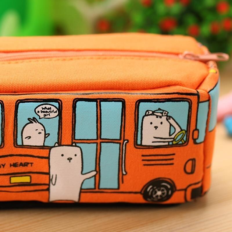 Новые формы Животных Школьный Автобус Канцелярские Холст Пенал Для Хранения Организатор Мешок Карандаша подарок Офис Школьные Принадлежности питания