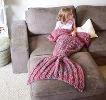 High Quality Wool Knitted Mermaid Tail Handmade Baby Blanket Blanket Wrap Super Soft Swaddle Blanket