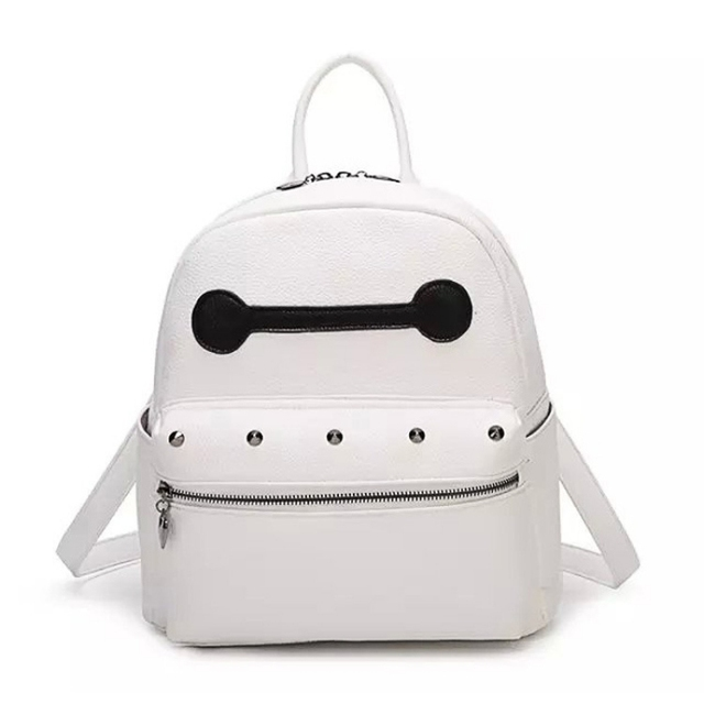 08a2a85bf56d Fashion backpacks for teenage girls leather school bag Baymax big small  size women pu leather backpack white