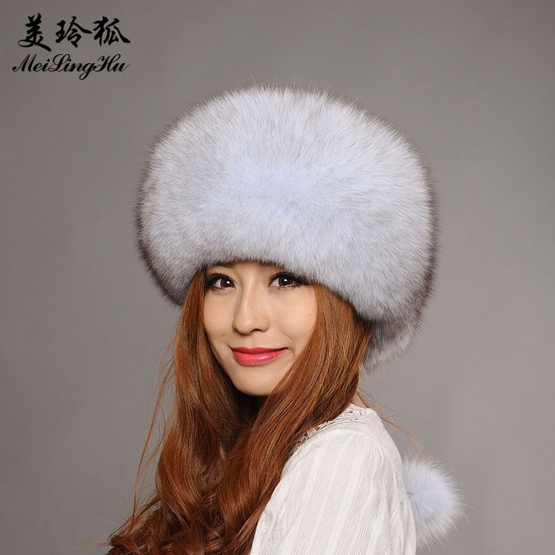 Real Fox Fur Winter Hat for Women Girl 's Hat Knitted Beanies Cap New 2017 Fahsion Solid Genuine Natural Fur Thick Female Cap xthree real mink fur pom poms knitted hat ball beanies winter hat for women girl s hat skullies brand new thick female cap