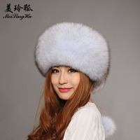 Real Fox Fur Winter Hat for Women Girl 's Hat Knitted Beanies Cap New 2017 Fahsion Solid Genuine Natural Fur Thick Female Cap