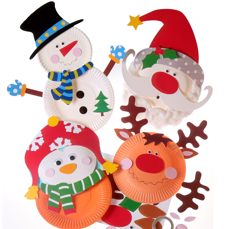 santa claus christmas snowman decorative party plate diy handwork paper plate children christmas gift educational toys - Decorative Paper Plates