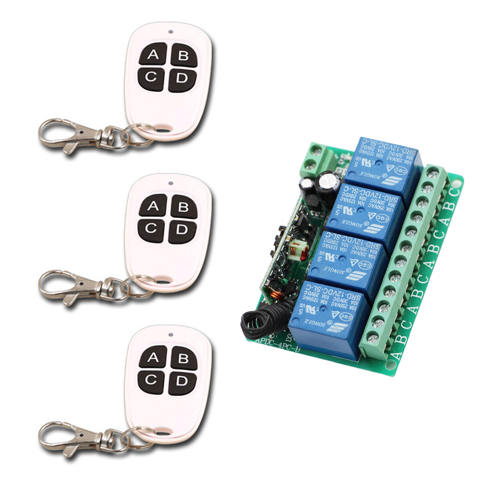 New DC 12V 10A Relay 4 Channel Wireless RF Remote Control Switch 4 Buttons Transmitter and Receiver for Wireless System ON OFF dc12v 10a rf remote control switch system 1ch 1 channel relay 3 x wireless receiver and 1x transmitter sku 5378