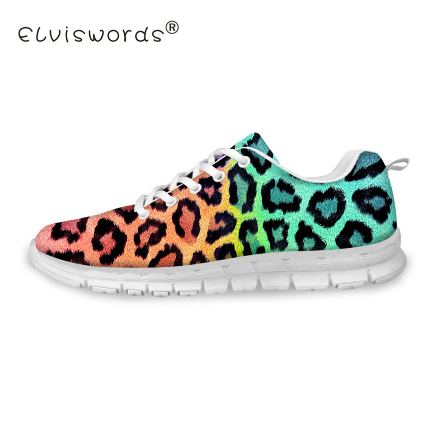ELVISWORDS Women 3D Leopard Print Shoes Breathable Flats Casual Female Lace up Shoes Summer Outside Sneakers for Lady Girls women shoes 2018 summer breathable fashion lady s casual shoes lace up girls handmade women woven shoes flip flop footwear 599w