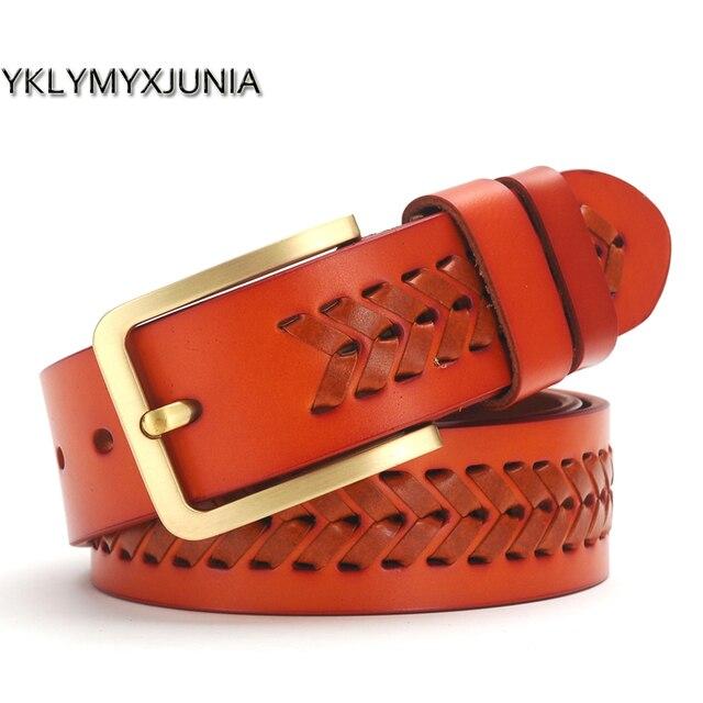 Nuevo Cinturón trenzado hombre moda de hombre de cuero genuino cinturón de moda Jeans cinturones hombre faja Vintage cinturón hombre