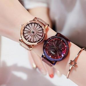 Image 2 - Женские кварцевые часы, вращающиеся по супер технологии, со стразами, из нержавеющей стали