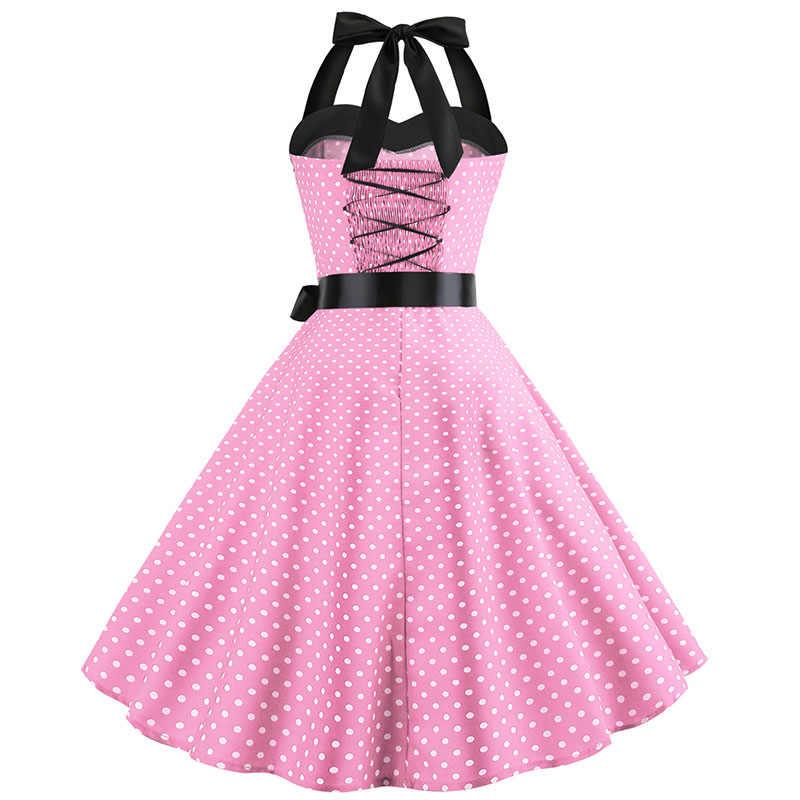 Baru 2019 Pink Midi Gaun Polka Dot Retro Hepburn Vintage 50 S 60 S Halter Gaun Pesta Pin Up Rockabilly gaun Gamis Plus Ukuran