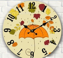34cm modern design silent decorative colorful wooden wall watch rustic large clock on the wall cartoon umbrella kitchen