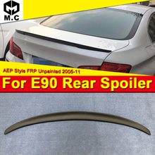 E90 4-DR 3 series Sedan&M3 FRP Unpainted Trunk spoiler wing P style For BMW 325i 330i 335i 325d Rear Diffuser wing spoiler 05-11 black frp auto rear tail trunk lid boot spoiler lip wing for bmw e90 sedan 4 door 05 08 m3 320i 323i 325i 330i 335i csl style