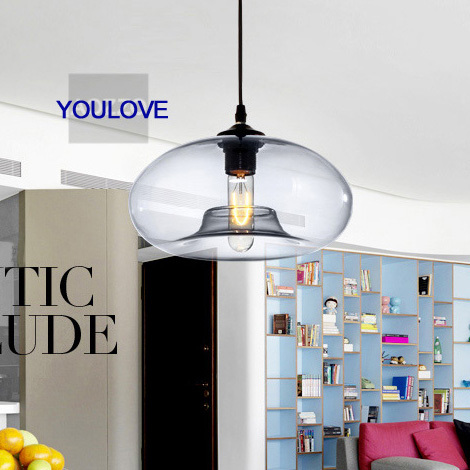 Modern Blue Glass Pendant Lights Fixture Vintage Single Glass Droplights Home Indoor Dining Room Foyer Bed Room Pendant Lamps nordic dna hanging lamps modern dna balls droplights home indoor foyer bed room dining room restaurant pendant lights fixture