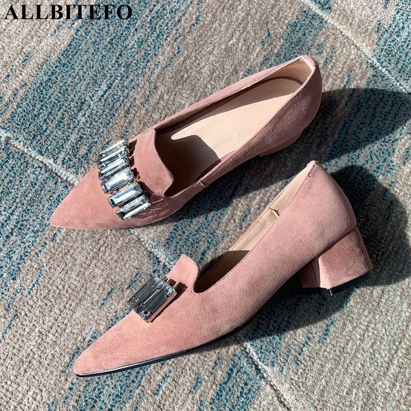 ALLBITEFO fashion Rhinestone genuine leather low-heeled comfortable women shoes high quality office ladies shoes women heelsALLBITEFO fashion Rhinestone genuine leather low-heeled comfortable women shoes high quality office ladies shoes women heels