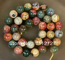 Fashion Trendy 8mm Natural HuEA Colorful Picasso Stone Accessory Parts Round DIY Loose Beads 15'' ED138  WHOLESALE PRICE
