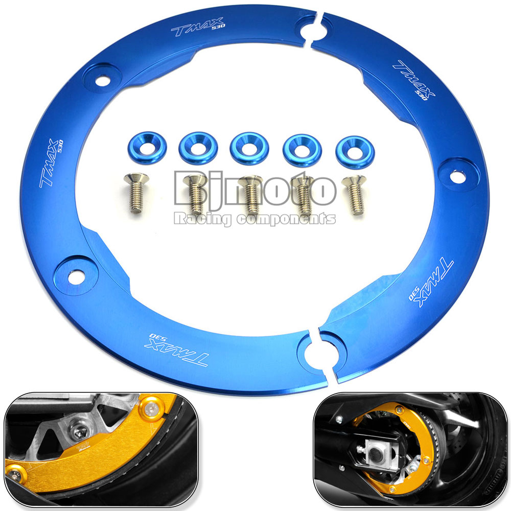 Bjmoto Free Shipping New Motorcycle Parts CNC Aluminum Transmission Belt Pulley Protective Cover For Yamaha T MAX 530 2012-2015 free shipping light weight crank pulley new for nissan skyline gtr bnr32 rb26 dett rb20 rb25 underdrive crank pulley yc100829