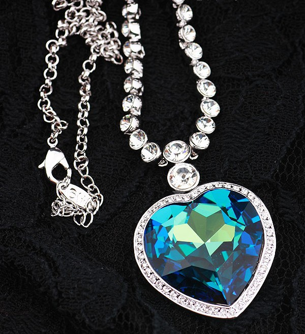 High Quality Luxury Silver Color Blue Crystal Heart of Ocean Pendants Necklace For Women Jewelry Best Gift DJN020