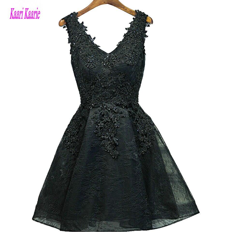 Sexy Black Short Prom Dresses 2018 Burgundy Prom Dress V-Neck Appliques  Beading Lace Up 6107f2544ac3