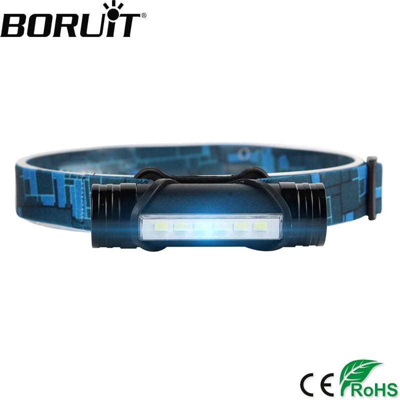 BORUiT 6 LEDs 1000LM Mini Headlamp 3-Mode Rechargeable Headlight Power Bank Flashlight Fishing Hunting Frontal Lantern