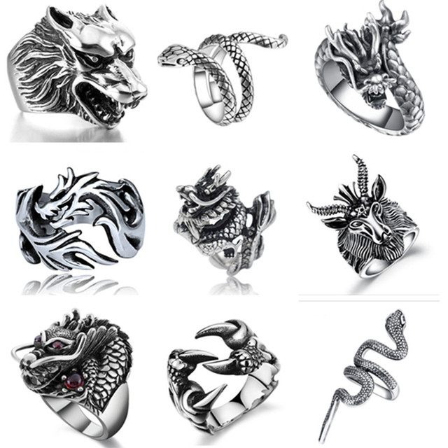 Gothic Punk Men Stainless Steel Ring Vintage Hip Hop Animal Dragon Rings For Men Jewelry Accessories 2019 Rings Drop Shipping