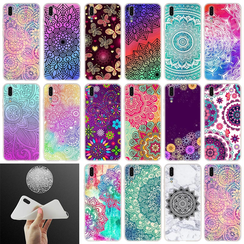 Soft Silicone Phone <font><b>Case</b></font> Vintage Mandala Flowers designs For <font><b>Huawei</b></font> P30 P20 P30Pro <font><b>P10</b></font> P9 P8 Lite 2017 P samrt 2019 Plus Cover image