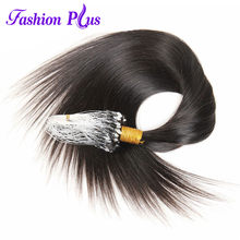 Micro Loop Ring Human Hair Extensions 1g/strand 100g '-24''Real Remy Hair Extensions Gekleurd Haar sloten Micro Bead hair(China)