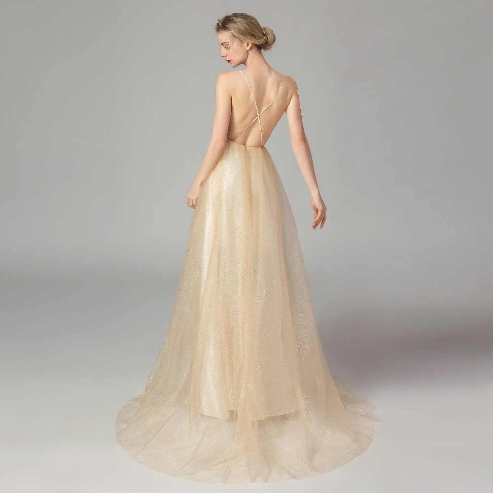 ruthshen Magnificent Long Evening Dresses Sexy Low-Cut Prom Dresses Backless Shiny Foil Spot Party Dresses Robe De Soiree 2019