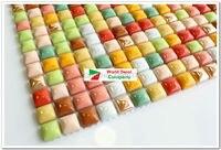 1BOX 11sheets Colorful Kitchen Tiles Glazed Mosaic Tiles Iridescent Bathroom Porcelain Tiles Sheet Kitchen Backsplash Art