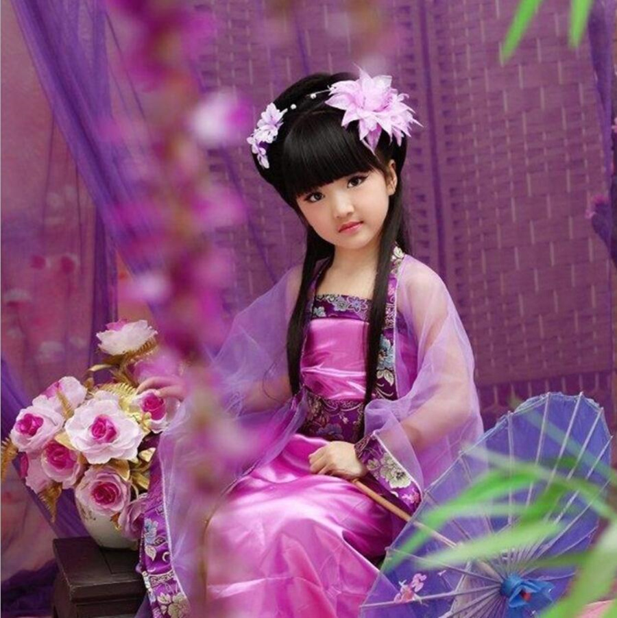 Chinese Tang Style Children Dress Girls Gorgeous Floral Ancient Costume Kids Sweet Classical Dancing Clothes Photography Costume high end handmade chinese dolls ancient costume tang princess jin yang jointed doll articulated kids toys girls birthday gift