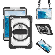 For iPad 2018 2017 9.7 inch Case Protector 360 Rotating Hand Strap+Neck Strap Kickstand 5th 6th Gen Tablet Cover for kids FHL02