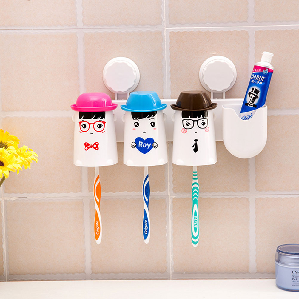 Plastic bathroom sets - Space Saving Bathroom Toothbrush Toothpaste Wash Gargle Toothbrush Holder Suction Cup Holder Plastic Storage Rack